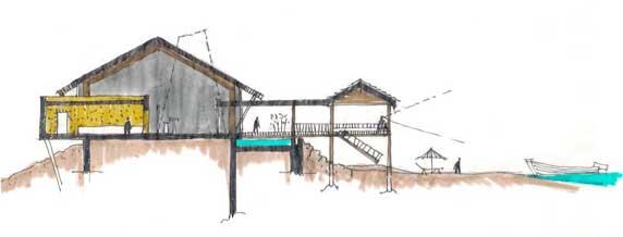 Cabañas, restaurante y centro de información en Yantai (China)